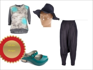 Carven animal print jumper, vialis leather clog sandal, studiorundholz trousers, leopard floppy hat  Styled by Sole Shoe Boutique