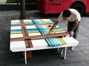 Color wood slab table