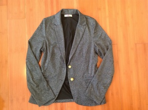 Black glitter and gold button blazer