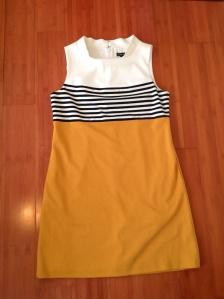Classy mustard and cream sheath dress