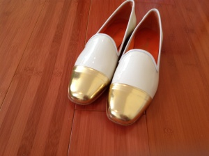 Bettye Muller gold toe patent flats